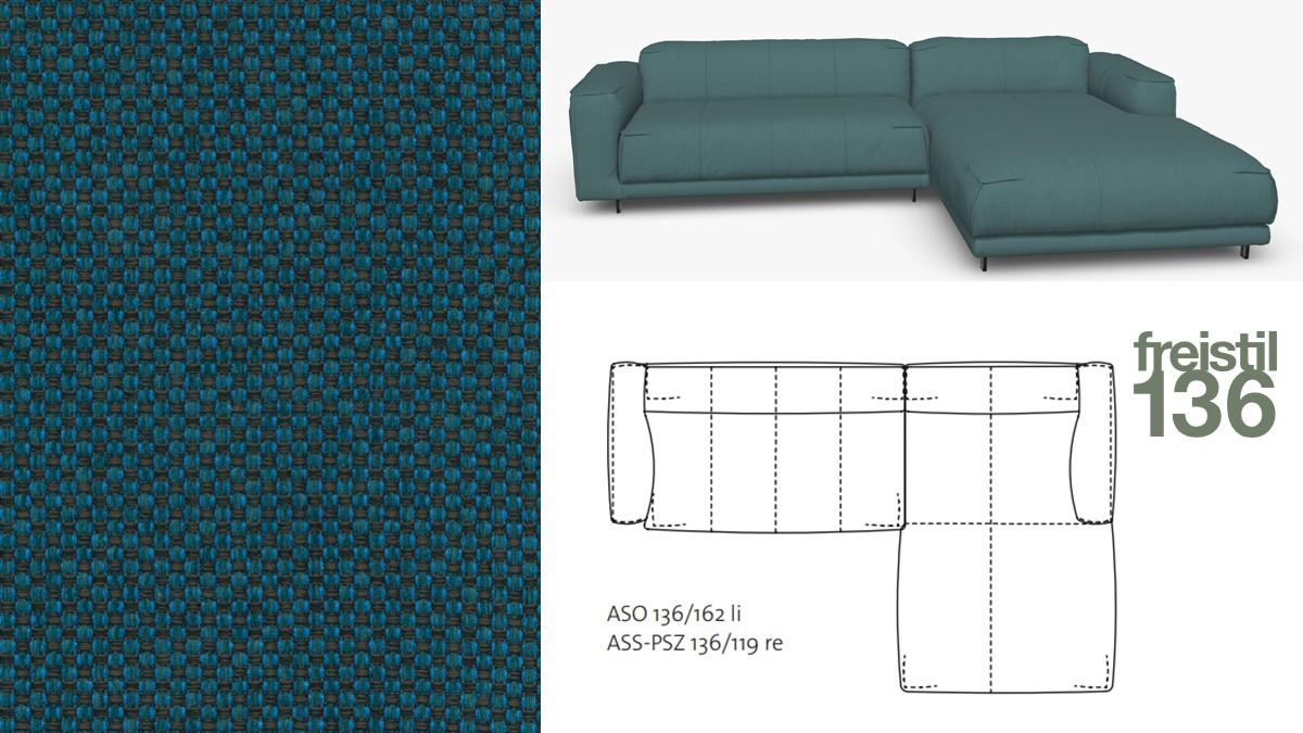 Kompakte freistil 136 Sofa-Kombination mit Longchair rechts im Stoff-Bezug #4025 azurblau