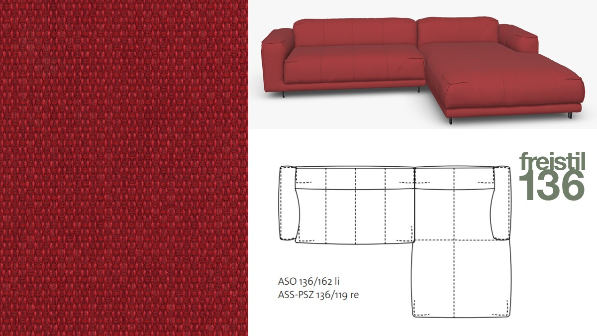 Kompakte freistil 136 Sofa-Kombination mit Longchair rechts im Stoff-Bezug #4026 braunrot