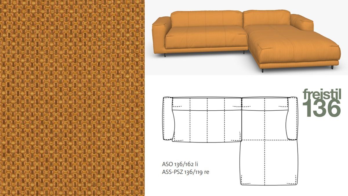 Kompakte freistil 136 Sofa-Kombination mit Longchair rechts im Stoff-Bezug #4027 goldgelb