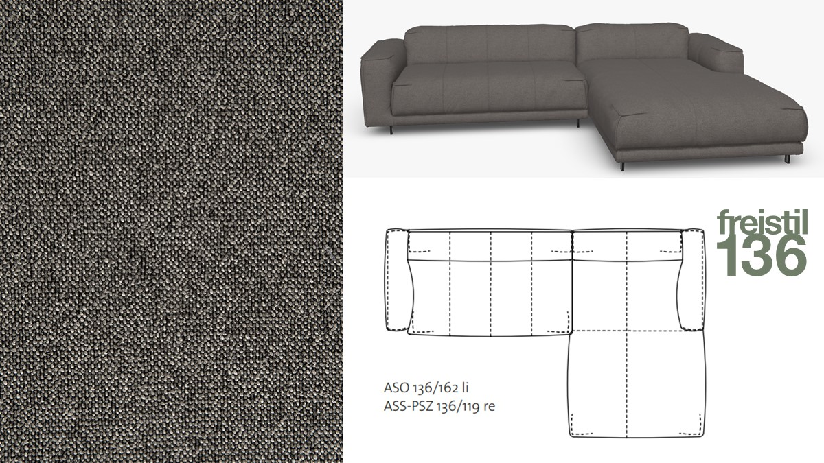 Kompakte freistil 136 Sofa-Kombination mit Longchair rechts im Stoff-Bezug #4037 schwarzgrau