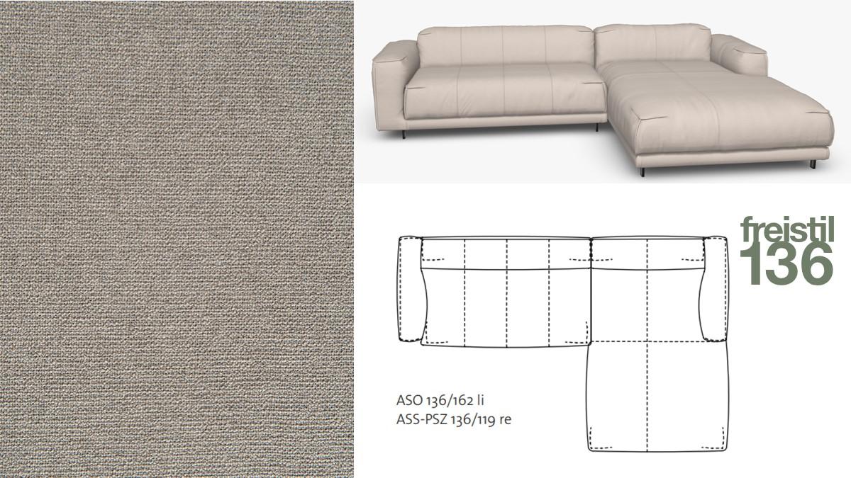 Kompakte freistil 136 Sofa-Kombination mit Longchair rechts im Stoff-Bezug #4041 steingrau