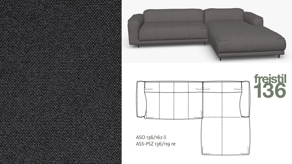 Kompakte freistil 136 Sofa-Kombination mit Longchair rechts im Stoff-Bezug #4042 schwarzgrau