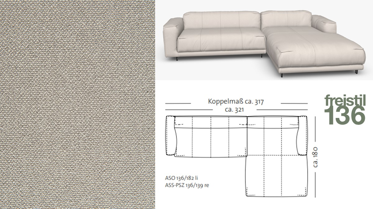 Kompakte freistil 136 Sofa-Kombination mit Longchair rechts im Stoff-Bezug #4046 steingrau