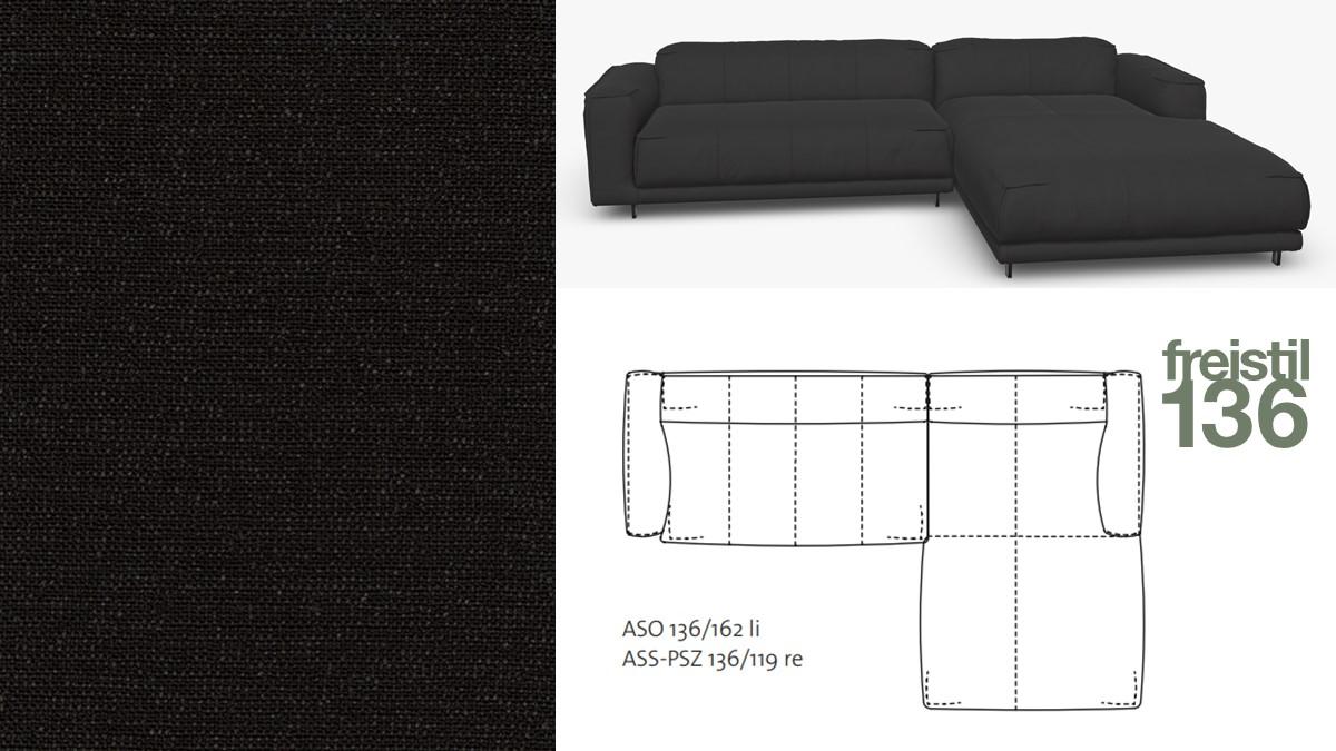 Kompakte freistil 136 Sofa-Kombination mit Longchair rechts im Stoff-Bezug #4060 schwarzgrau