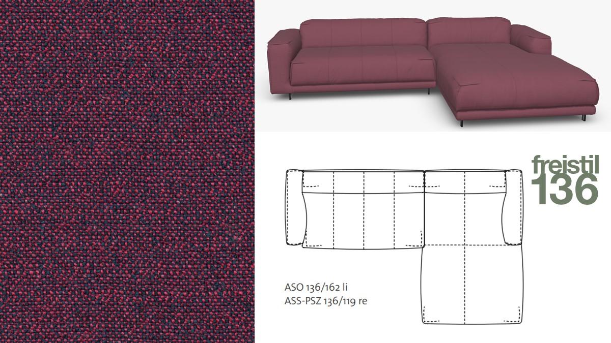 Kompakte freistil 136 Sofa-Kombination mit Longchair rechts im Stoff-Bezug #4061 purpurv.-stahlblau