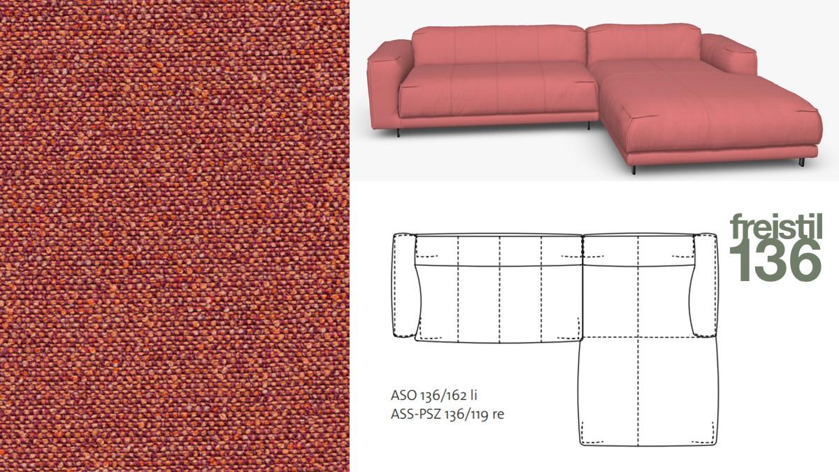 Kompakte freistil 136 Sofa-Kombination mit Longchair rechts im Stoff-Bezug #4062 gelborange-violett