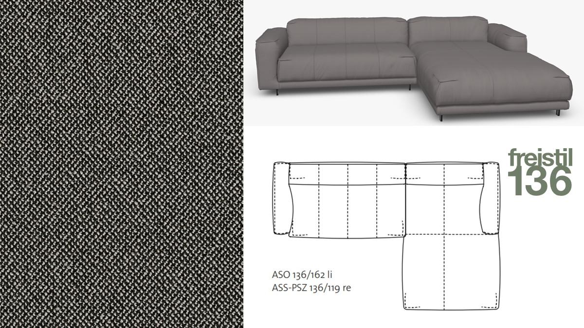 Kompakte freistil 136 Sofa-Kombination mit Longchair rechts im Stoff-Bezug #4080 schwarzgrau-grauwei.