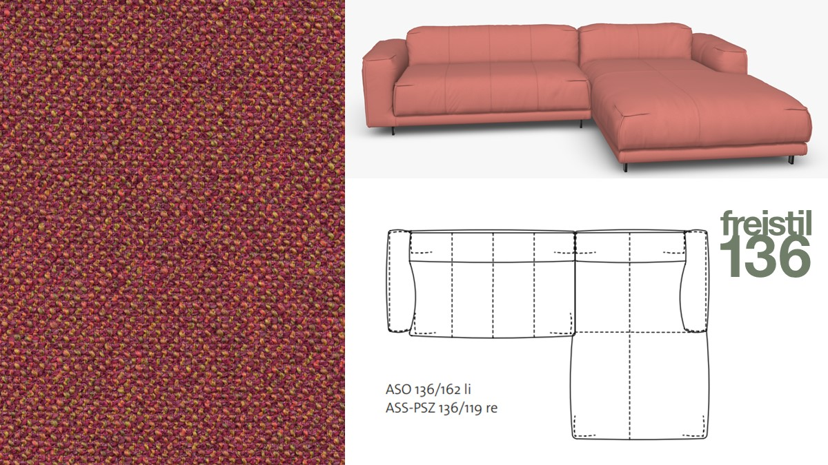 Kompakte freistil 136 Sofa-Kombination mit Longchair rechts im Stoff-Bezug #4081 rotviolett-meliert