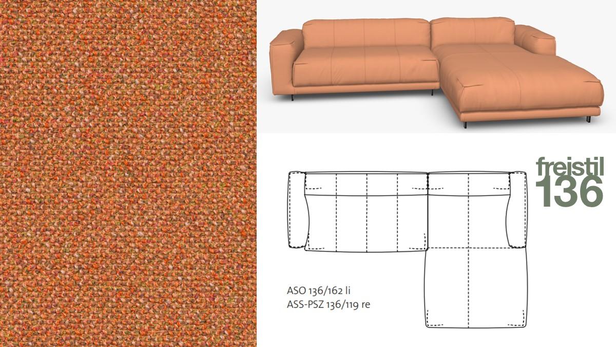 Kompakte freistil 136 Sofa-Kombination mit Longchair rechts im Stoff-Bezug #4082 gelborange-meliert