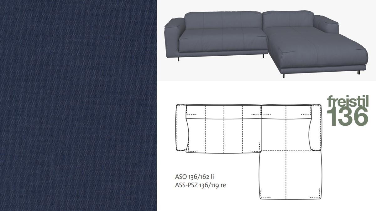 Kompakte freistil 136 Sofa-Kombination mit Longchair rechts im Stoff-Bezug #4096 stahlblau