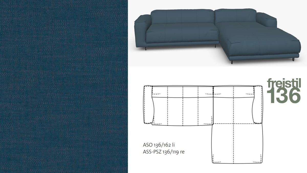 Kompakte freistil 136 Sofa-Kombination mit Longchair rechts im Stoff-Bezug #4097 grünblau