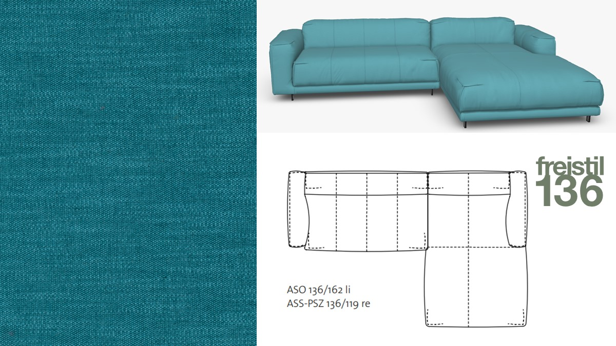 Kompakte freistil 136 Sofa-Kombination mit Longchair rechts im Stoff-Bezug #4098 wasserblau