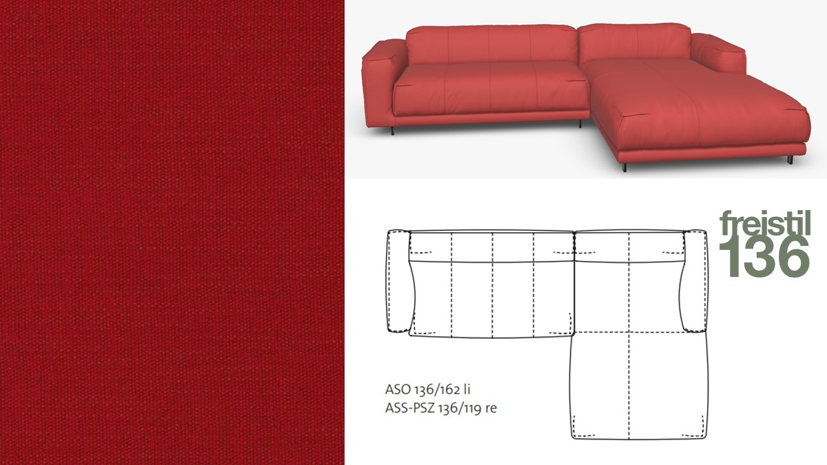 Kompakte freistil 136 Sofa-Kombination mit Longchair rechts im Stoff-Bezug #4099 signalrot