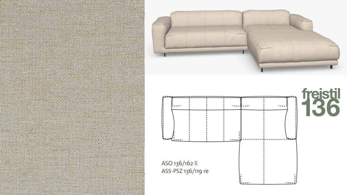 Kompakte freistil 136 Sofa-Kombination mit Longchair rechts im Stoff-Bezug #4100 seidengrau
