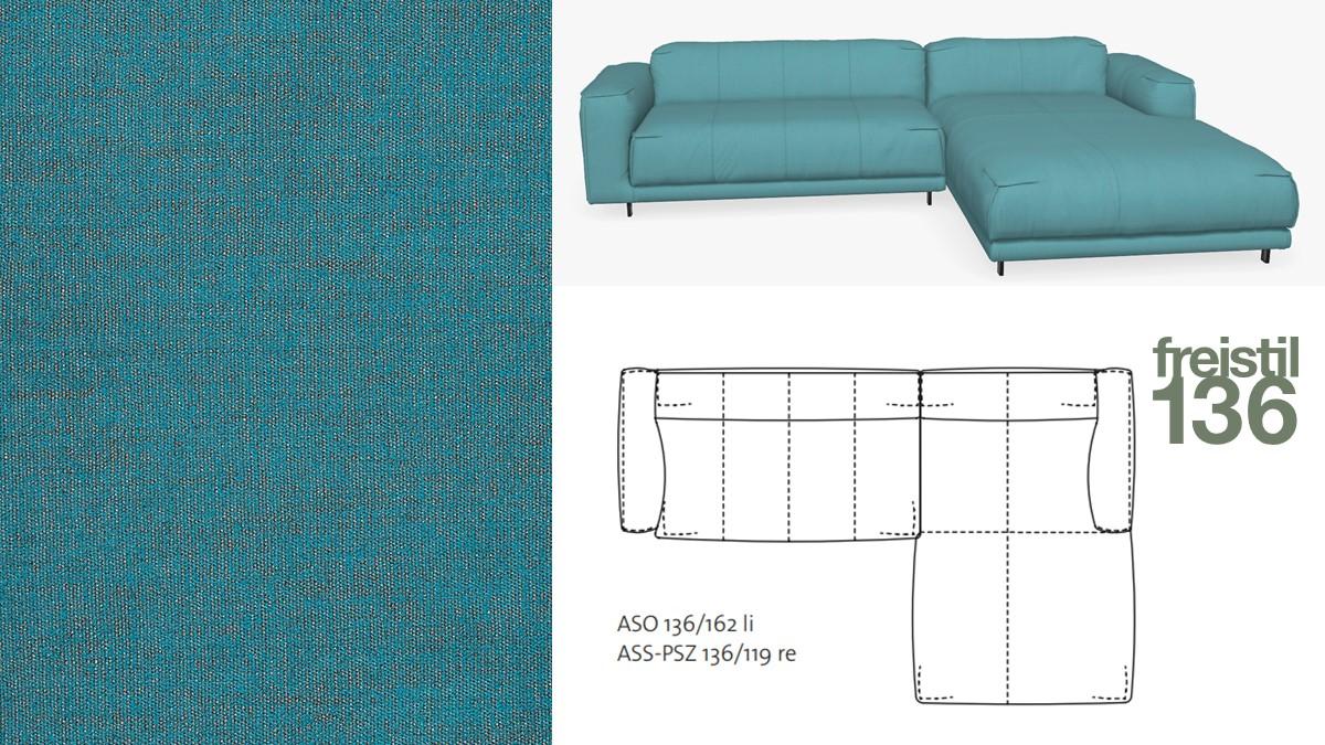 Kompakte freistil 136 Sofa-Kombination mit Longchair rechts im Stoff-Bezug #4104 türkis