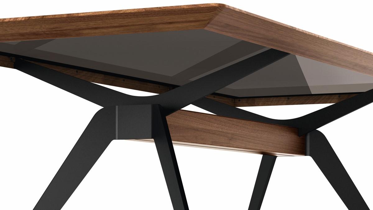 Der hülsta SOLID Tisch mit Kreuzfußgestell wirkt auf den ersten Blick bereits wie ein Design-Kunstwerk.
