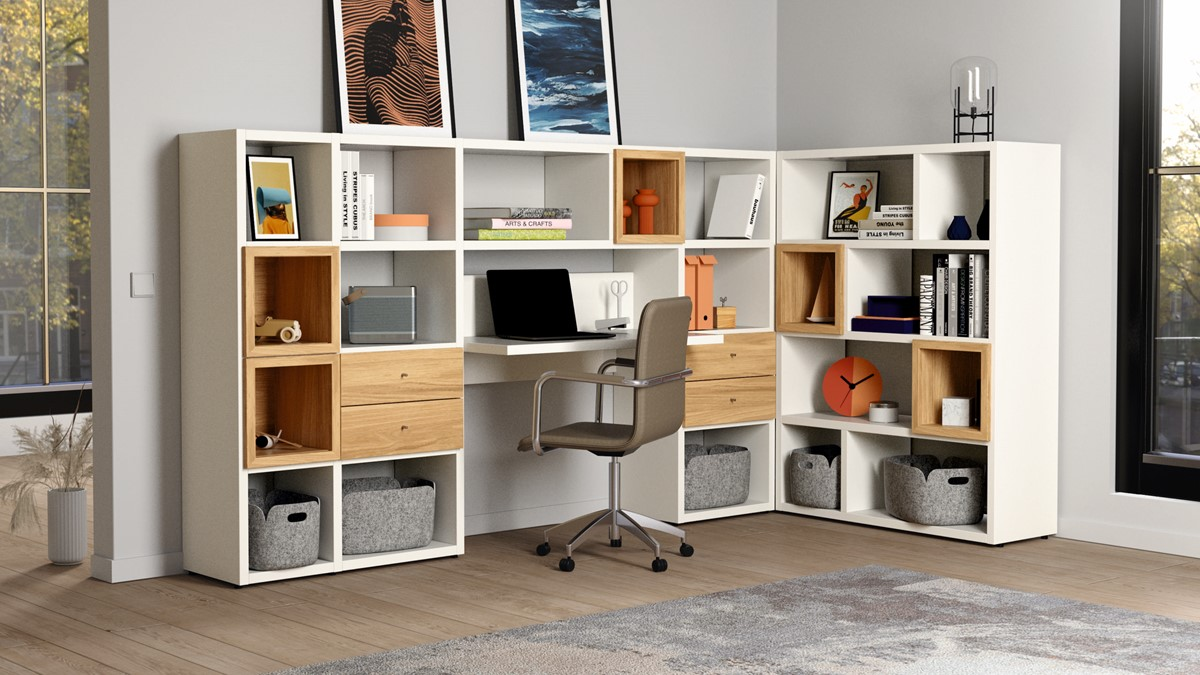hülsta NOW! HOME OFFICE Vorschlags-Kombination #980019 MIT hülsta NOW! Drehstuhl in Kunstleder taupe