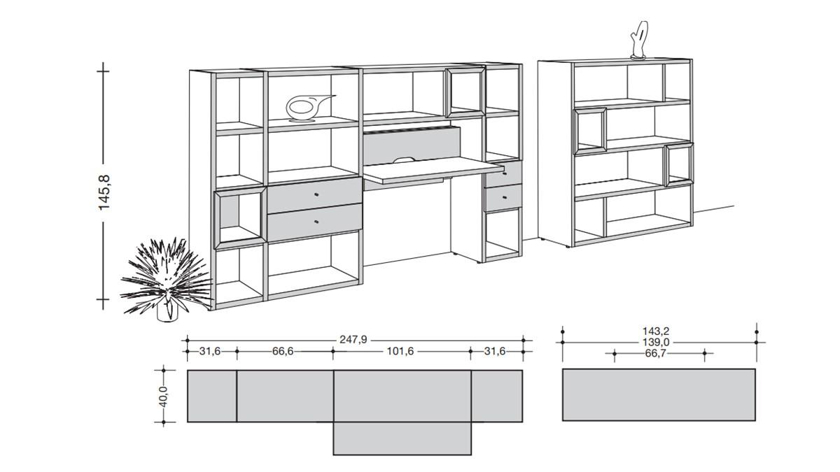 hülsta NOW! HOME OFFICE Vorschlags-Kombination #980019 - Technische Zeichnung mit Maßen