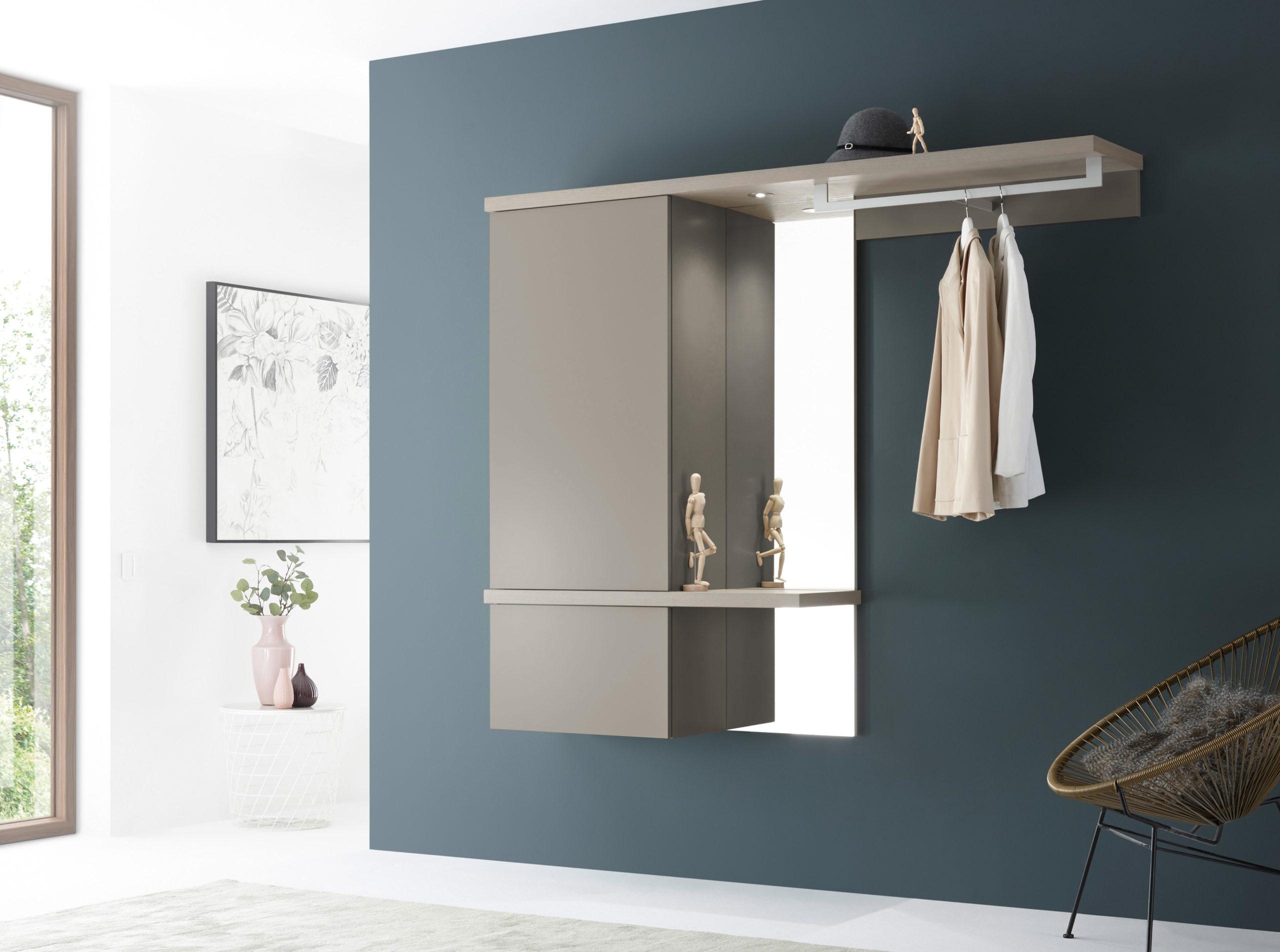 Sudbrock TANDO Garderobe No. 39 mit Holz-Akzent in 129-Eiche-Sahara, Lack muschelgrau #405