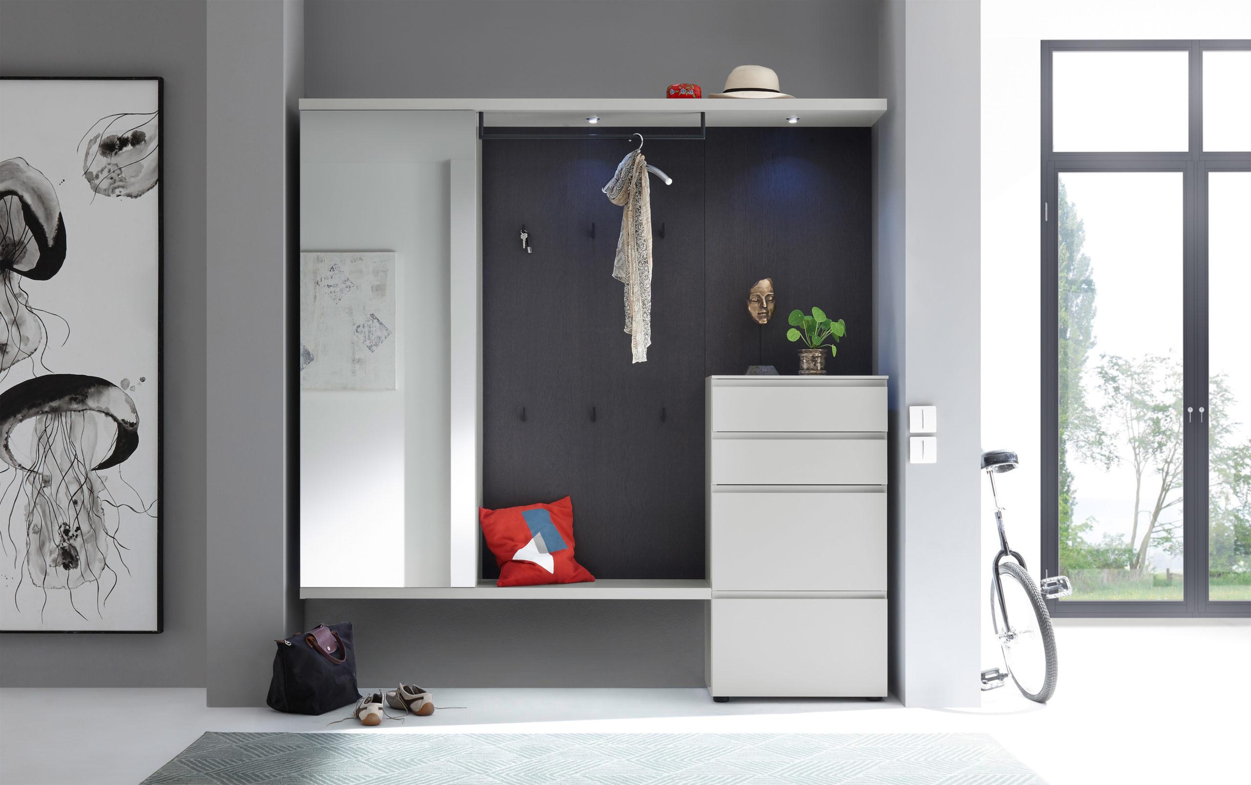 Sudbrock TANDO Garderobe No.48 in Eiche anthrazit, kombiniert mit Akzent in Lack-steingrau #407