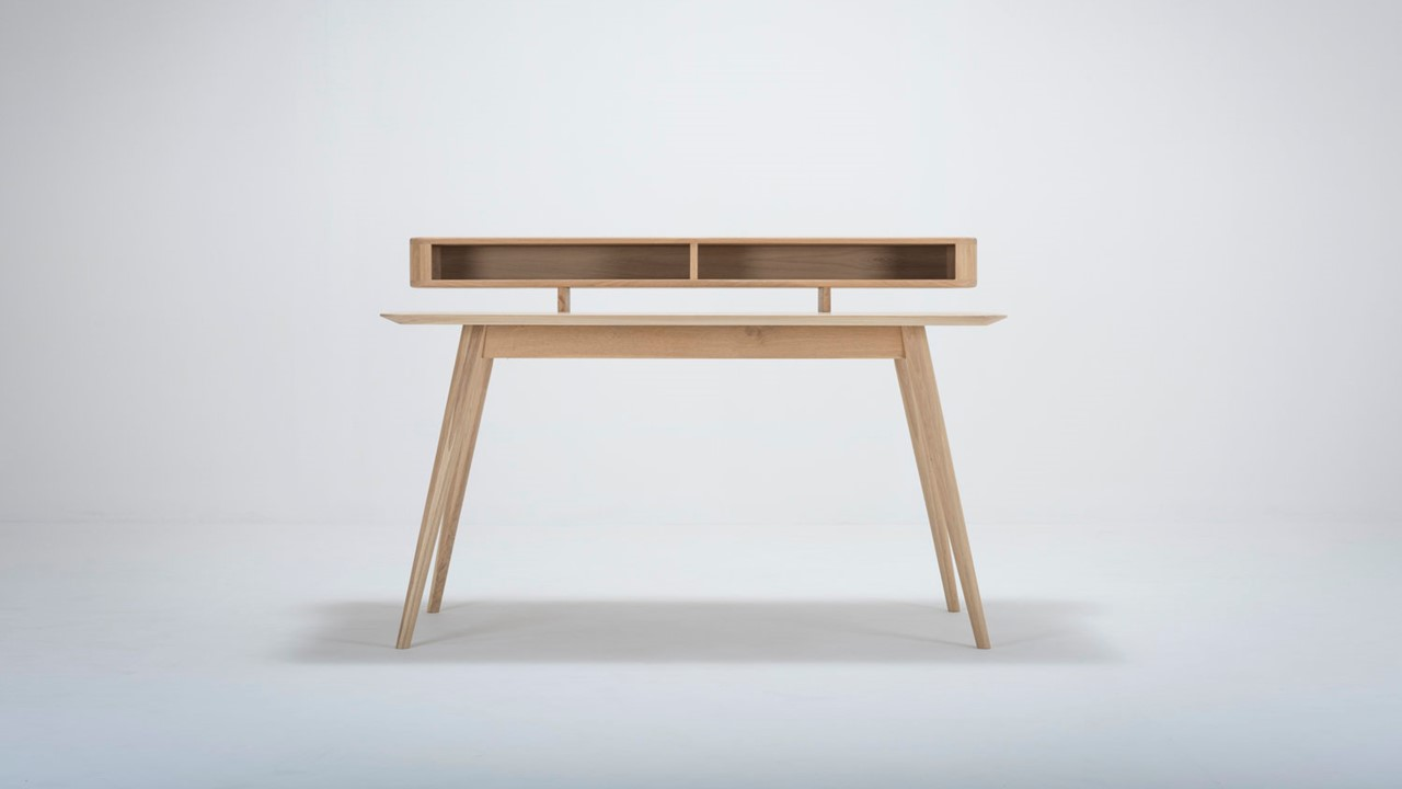 GAZZDA Stafa Schreibtisch mit integriertem Ablagefächern.