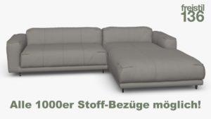 Kompakte freistil 136 Sofa-Kombination mit Longchair rechts Alle 1000er Stoff-Bezüge möglich