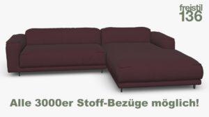 Kompakte freistil 136 Sofa-Kombination mit Longchair rechts Alle 3000er Stoff-Bezüge möglich