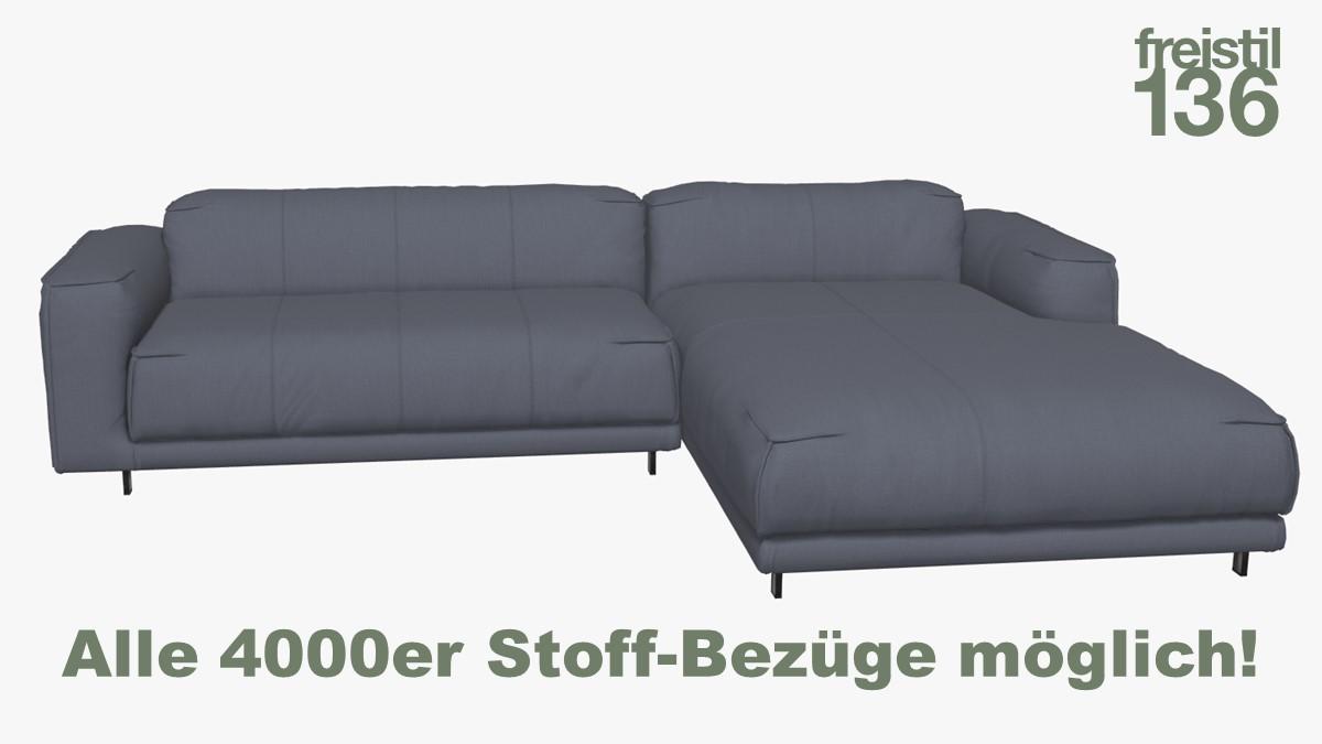 Kompakte freistil 136 Sofa-Kombination mit Longchair rechts Alle 4000er Stoff-Bezüge möglich