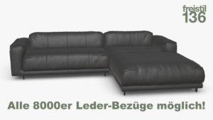 freistil 136 Sofa mit Longchair rechts im Leder-Bezug jetzt in allen 8000er Ledern konfigurierbar