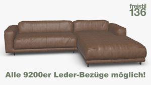 freistil 136 Sofa mit Longchair rechts im 9200er Leder-Bezug online konfigurieren