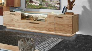 SCHRÖDER Kitzalm Pur Lowboard mit Nischenrückwand mit echter Baumrinde, 2 Türen und 1 Schublade