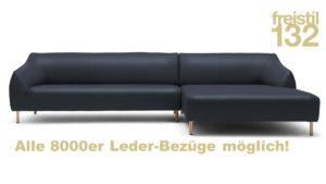 freistil 132 Sofa mit Longchair rechts im 8000er Leder