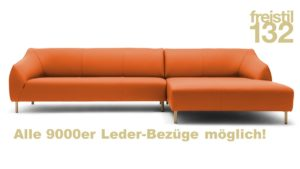 freistil 132 Sofa mit Longchair rechts im 9000er Leder