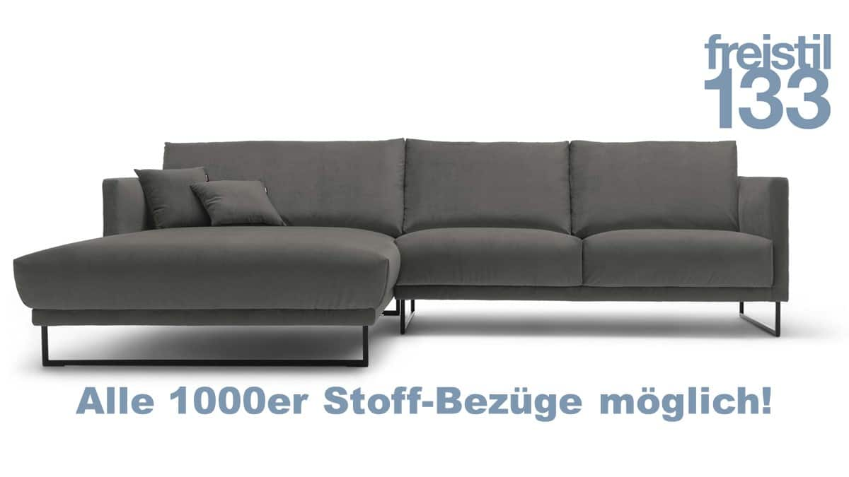 freistil 133 Sofa mit Longchair links im Stoff-Bezug