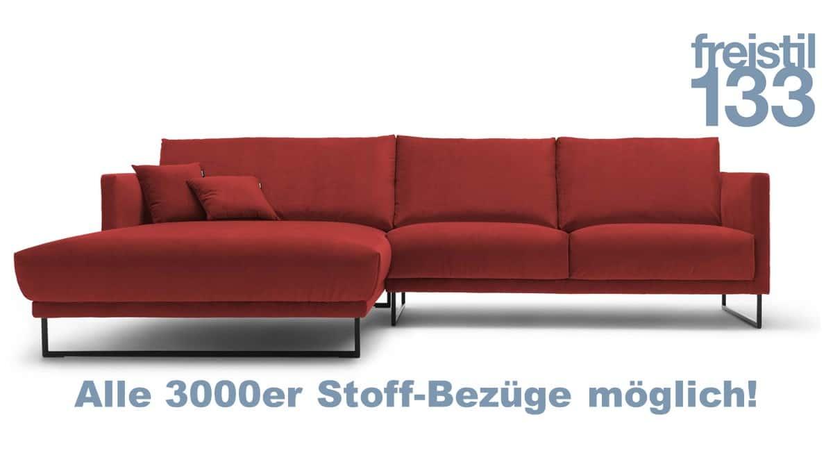 freistil 133 Sofa mit Longchair links in zahlreichen 3000er Stoffen konfigurierbar