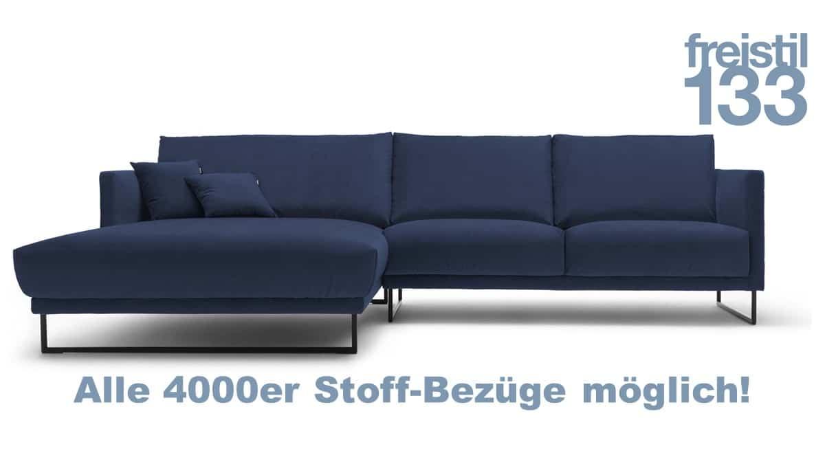 freistil 133 Sofa mit Longchair links in zahlreichen 4000er Stoffen konfigurierbar