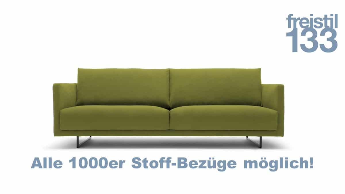 freistil 133 Sofabank in der Breite 222 cm in allen 1000er Stoffen der freistil ROLF BENZ Kollektion erhältlich.