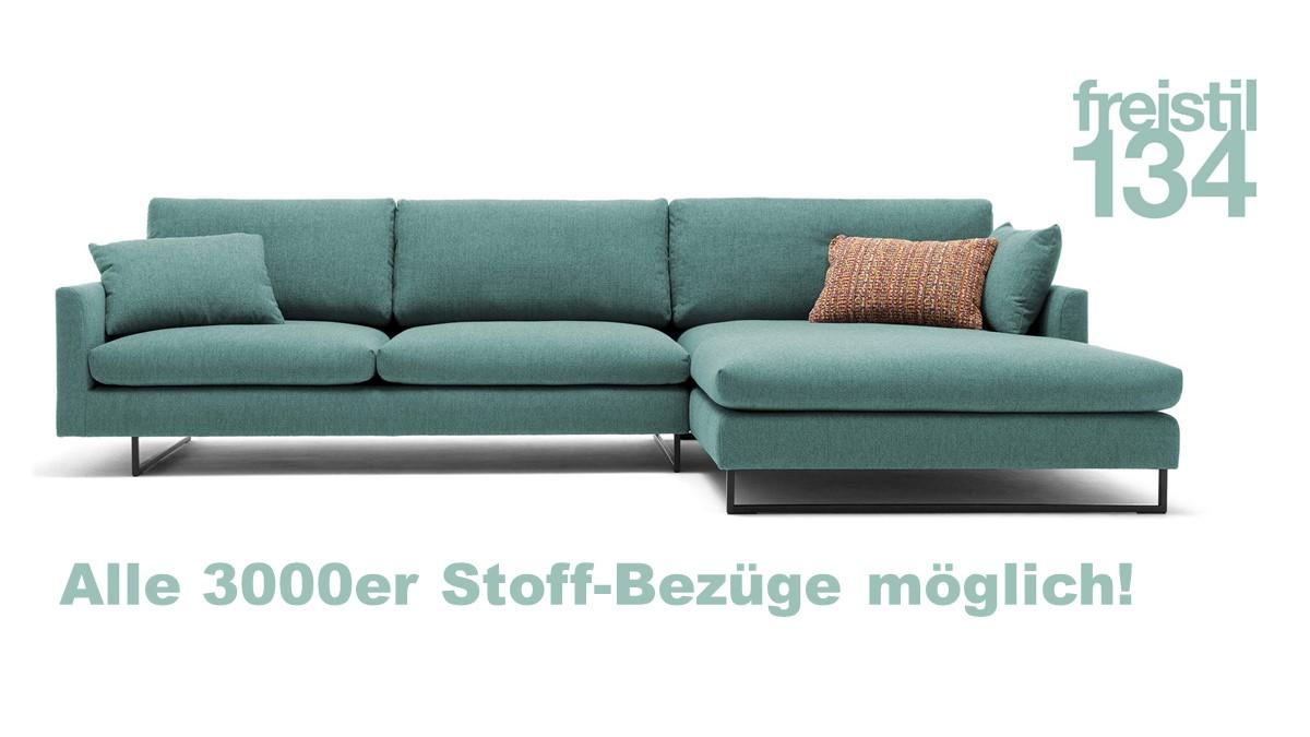 freistil 134 Sofa mit Longchair rechts - Alle 3000er Stoff-Bezüge möglich