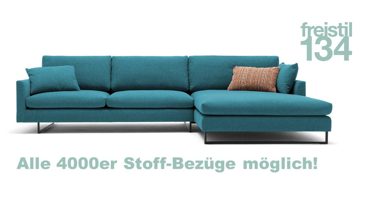 freistil 134 Sofa mit Longchair rechts - In allen 4000er Stoffen aus der freistil ROLF BENZ Kollektion konfigurierbar