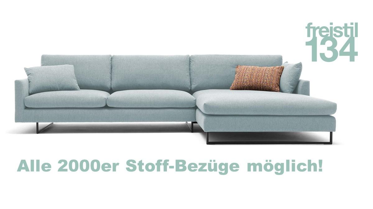freistil 134 Sofa mit Longchair rechts in allen 2000er Stoffen konfigurierbar