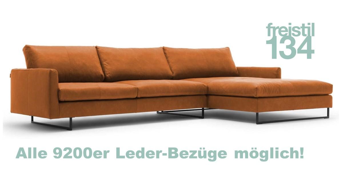 freistil 134 Sofa mit XL-Longchair rechts jetzt in allen 9200er Bezügen konfigurierbar