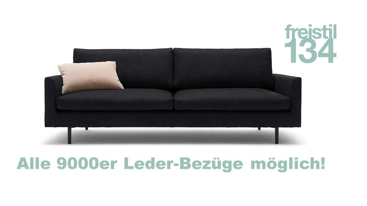 freistil 134 Sofabank 3-sitzig in der Breite 222 cm in allen 9000er Leder beziehbar.
