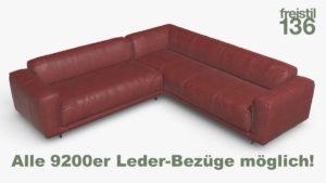freistil 136 Eck-Sofa Alle 9200er Leder-Bezüge möglich