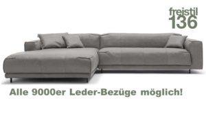 freistil 136 ROLF BENZ Sofa mit XL Recamiere links in allen 9000er Ledern