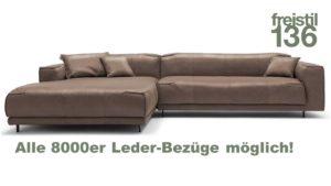 freistil 136 ROLF BENZ Sofa mit XL Recamiere links konfigurieren