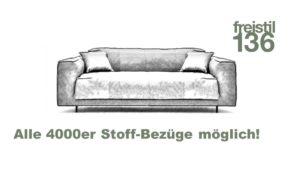 freistil 136 Sofa-Bank 3 sitzig, Breite 183 cm - in allen freistil 4000er Bezügen konfigurierbar
