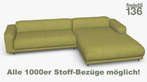 freistil 136 Sofa mit Longchair rechts Alle 1000er Stoff-Bezüge möglich