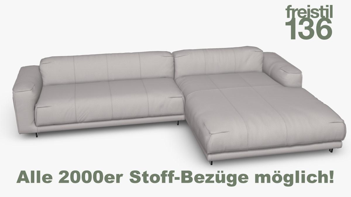 freistil 136 Sofa mit Longchair rechts Alle 2000er Stoff-Bezüge möglich