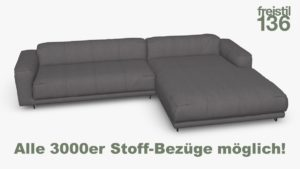 freistil 136 Sofa mit Longchair rechts Alle 3000er Stoff-Bezüge möglich