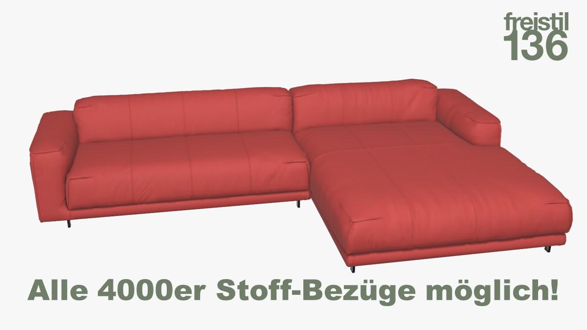 freistil 136 Sofa mit Longchair rechts Alle 4000er Stoff-Bezüge möglich